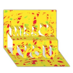 Yellow and red Miss You 3D Greeting Card (7x5)