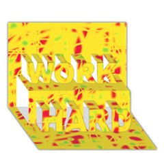 Yellow and red WORK HARD 3D Greeting Card (7x5)