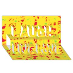Yellow and red Laugh Live Love 3D Greeting Card (8x4)