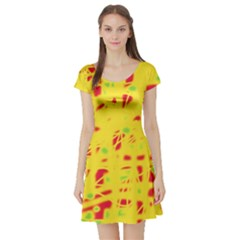 Yellow and red Short Sleeve Skater Dress