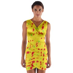 Yellow and red Wrap Front Bodycon Dress