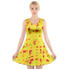 Yellow and red V-Neck Sleeveless Skater Dress