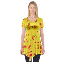 Yellow And Red Short Sleeve Tunic