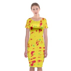 Yellow and red Classic Short Sleeve Midi Dress