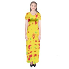 Yellow And Red Short Sleeve Maxi Dress
