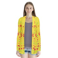 Yellow and red Drape Collar Cardigan