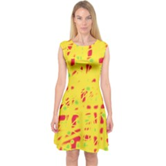 Yellow and red Capsleeve Midi Dress