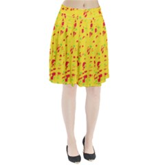 Yellow And Red Pleated Skirt