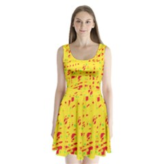 Yellow and red Split Back Mini Dress