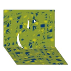 Green and blue Apple 3D Greeting Card (7x5)
