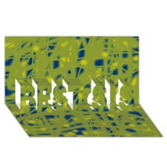 Green and blue BEST SIS 3D Greeting Card (8x4)