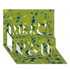 Green and blue Miss You 3D Greeting Card (7x5)