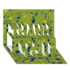 Green and blue THANK YOU 3D Greeting Card (7x5)