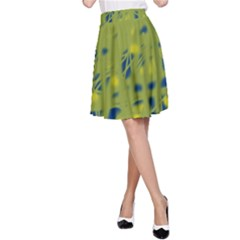Green and blue A-Line Skirt