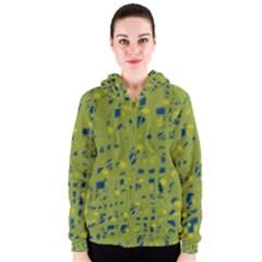 Green and blue Women s Zipper Hoodie