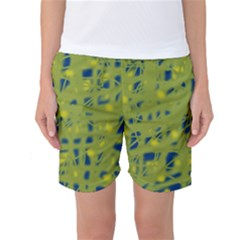 Green and blue Women s Basketball Shorts