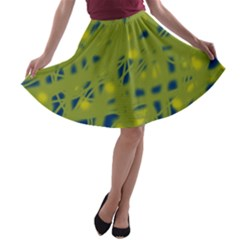 Green and blue A-line Skater Skirt