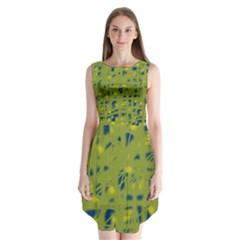 Green and blue Sleeveless Chiffon Dress