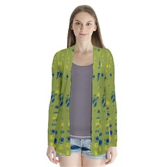 Green And Blue Drape Collar Cardigan