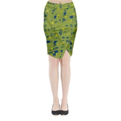 Green and blue Midi Wrap Pencil Skirt