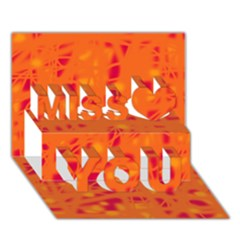 Orange Miss You 3d Greeting Card (7x5)