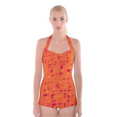 Orange Boyleg Halter Swimsuit