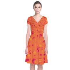 Orange Short Sleeve Front Wrap Dress