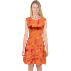 Orange Capsleeve Midi Dress