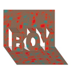 Red and brown BOY 3D Greeting Card (7x5)
