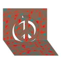 Red and brown Peace Sign 3D Greeting Card (7x5)