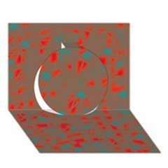 Red and brown Circle 3D Greeting Card (7x5)
