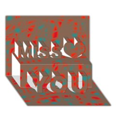 Red and brown Miss You 3D Greeting Card (7x5)