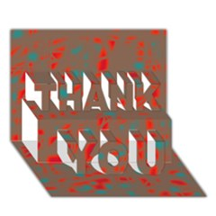 Red and brown THANK YOU 3D Greeting Card (7x5)
