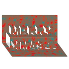 Red and brown Merry Xmas 3D Greeting Card (8x4)