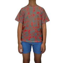 Red and brown Kid s Short Sleeve Swimwear