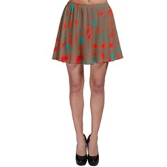 Red and brown Skater Skirt