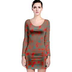 Red and brown Long Sleeve Bodycon Dress