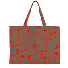 Red and brown Large Tote Bag