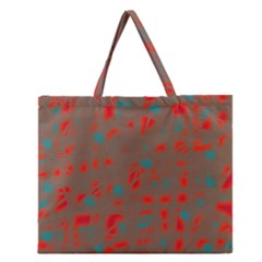 Red And Brown Zipper Large Tote Bag