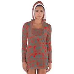 Red And Brown Women s Long Sleeve Hooded T Shirt