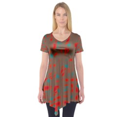 Red And Brown Short Sleeve Tunic