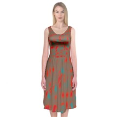 Red And Brown Midi Sleeveless Dress