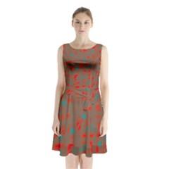 Red And Brown Sleeveless Chiffon Waist Tie Dress