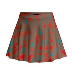 Red and brown Mini Flare Skirt