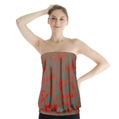 Red and brown Strapless Top