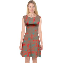 Red and brown Capsleeve Midi Dress