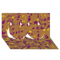 Brown and purple Twin Hearts 3D Greeting Card (8x4)