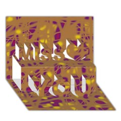 Brown And Purple Miss You 3d Greeting Card (7x5)
