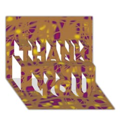 Brown and purple THANK YOU 3D Greeting Card (7x5)