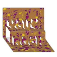 Brown And Purple You Rock 3d Greeting Card (7x5)